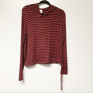 Cabi Maroon Striped Time Off Hoodie style # 3499